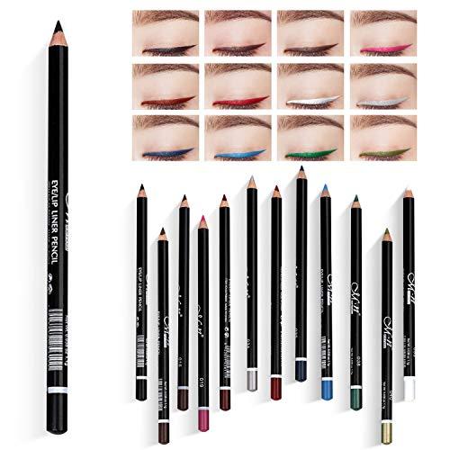 LATTCURE 12 Farben Eyeliner Set , Eyeliner Pen, Wasserfest Kajalstift bunt...