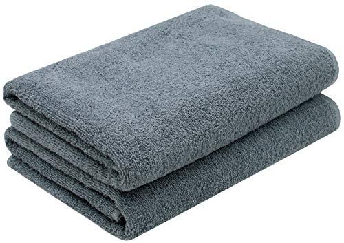 ZOLLNER 2er Set Duschtücher Baumwolle, 420 g/qm, 70x140 cm, grau