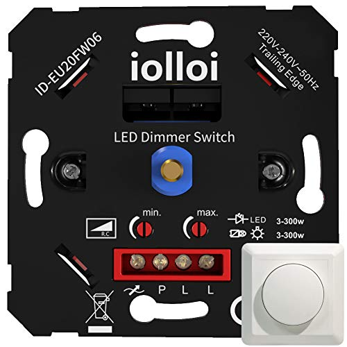 iolloi LED-Dimmer, 3–300 W Unterputzdosen-Drehdimmer für Dimmbare LED und...