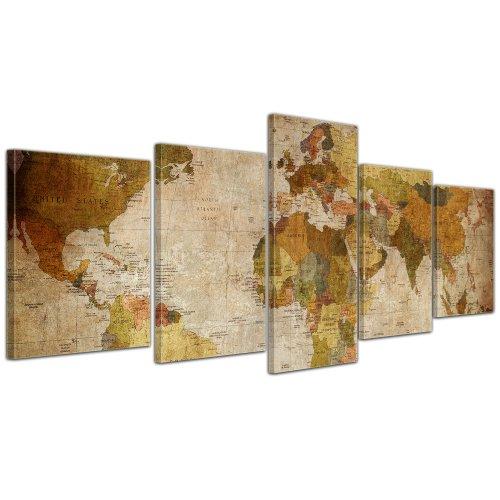 Bilderdepot24 Bild auf Leinwand   Weltkarte Retro in 200x80 cm mehrteilig als...