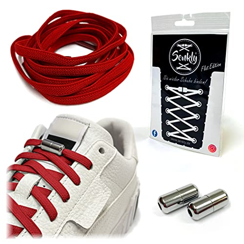 Senkly Elastische Schnürsenkel   Flat Edition   mit Metallkapsel für Sneaker...