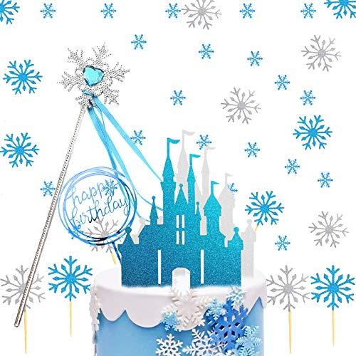 Eiskönigin Tortendeko, Schneeflocken Tortendeko mit Schloss Schneeflocke...