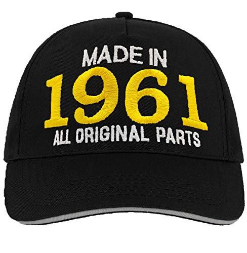 Bestickter Hut zum 60-jährigen Geburtstag 'Made in 1961 all original parts'