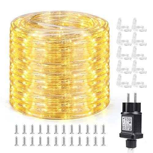 Qedertek Lichtschlauch Außen 10m, 240 LED Lichterschlauch IP65 Wasserdicht,...