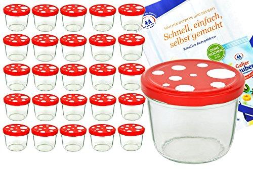 MamboCat 25er Set Sturzglas 230 ml to 82 Fliegenpilz Deckel rot weiß gepunktet...