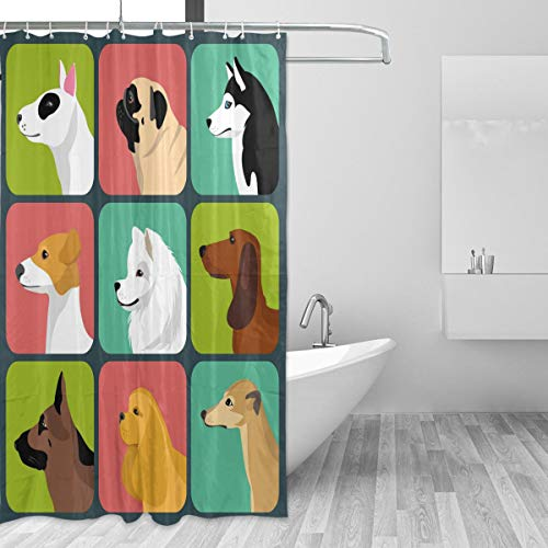 LUPINZ Set mit verschiedenen Hundesymbolen Muster Polyester Duschvorhang...