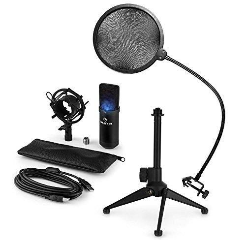 auna MIC-900B-LED - Mikrofon-Set V2, 3-teilig, USB Kondensatormikrofon +...