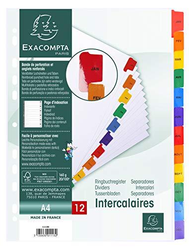 Exacompta 1113E Packung mit Register, Karton weiß 160g/m², Monate, für DIN...