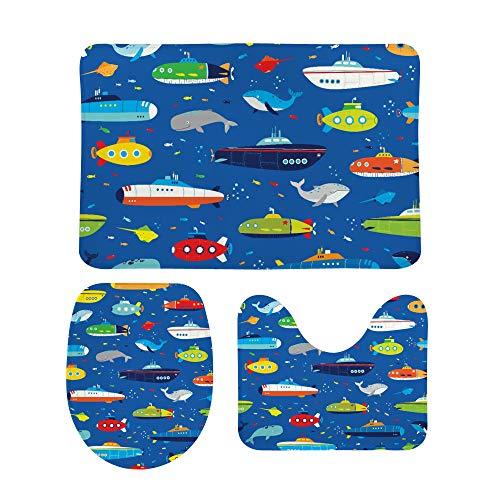 PICKIDS Badezimmerteppiche Submarines und Wale, Fußmatte, rutschfest,...