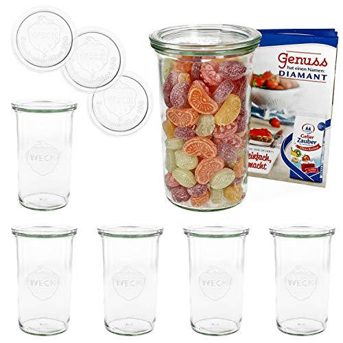 MamboCat 6er Set Weckgläser Sturzglas mit Deckel 1000 ml I Original Weck...
