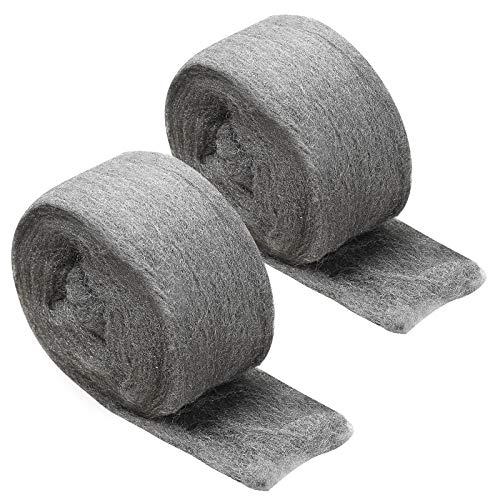 2 Stück Stahlwolle, JatilEr Stahlwolle Fein 0000 Grade Metall Polieren Stahl...