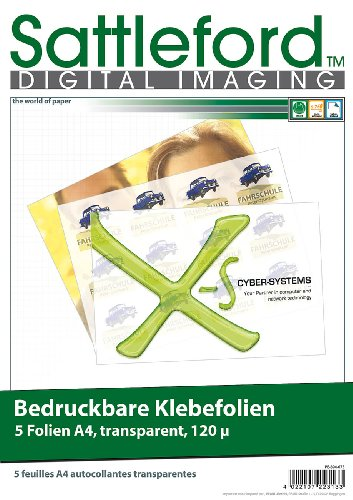 Sattleford Bedruckbare Klebefolie: 5 Klebefolien A4 transparent für Inkjet...