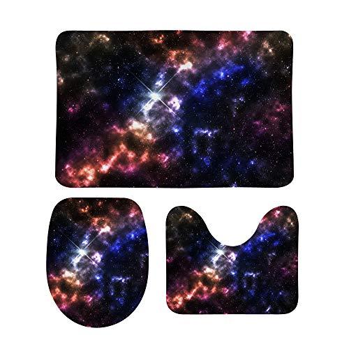 PICKIDS Badezimmerteppiche Original Galaxy, Bodenmatte, rutschfest, 3-teiliges...
