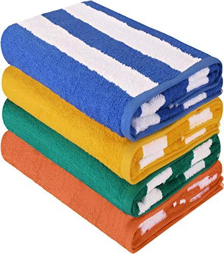Utopia Towels - 4er Pack XXL Strandtuch Baumwolle Cabana Stripe - 76 x 152 cm,...