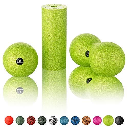 BODYMATE Faszien Mini-Set Apfel-Grün - Mini-Faszien-Rolle L15xD6cm, Ball D8cm...