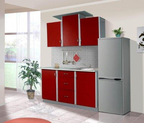 Küche Sky 150cm Küchenzeile/Küchenblock variabel stellbar rot/Silber