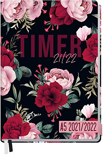 Häfft-Timer 2021/2022 A5 [Bold Flower] Hardcover Schüler-Kalender,...
