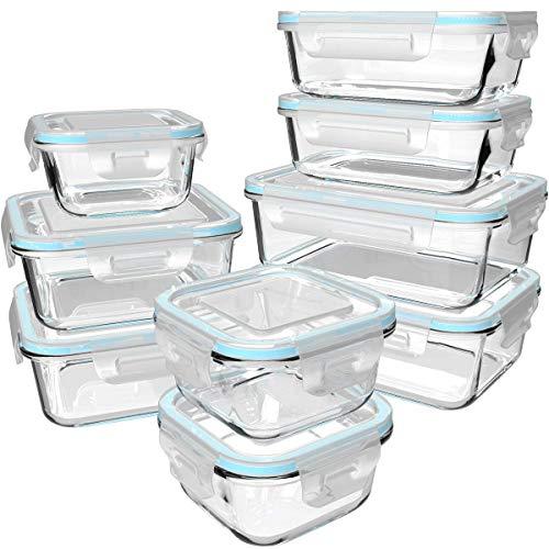 GENICOOK Glas-Frischhaltedose Set 9er,aufbewahrungsbox Glas mit Deckel für...