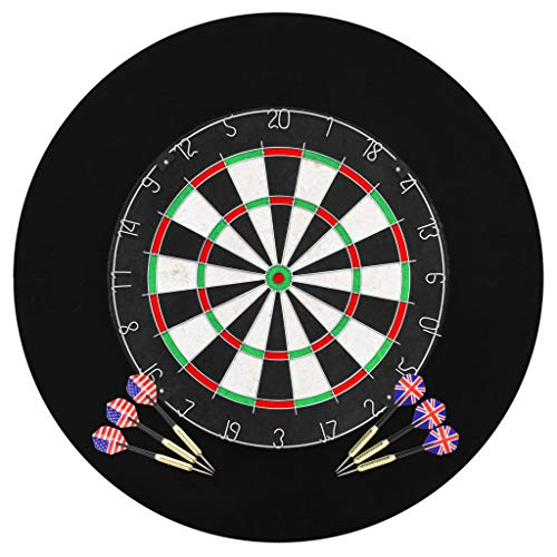 FAMIROSA Professionelles Dartboard Sisal mit 6 Darts und Surround