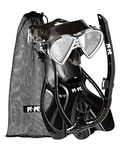 PI-PE Erwachsene Active Schnorchelset, Black, ML/XL
