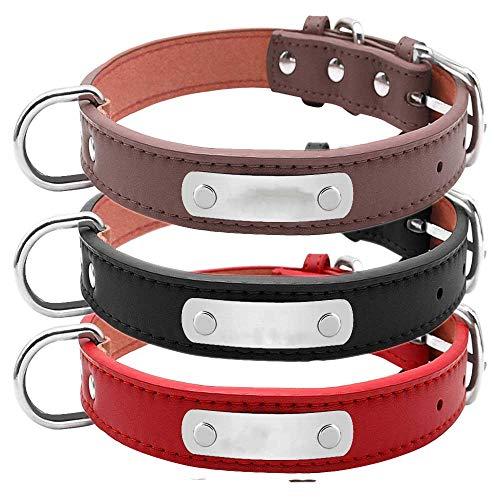 Youyababay Hundehalsband Leder, weiches echtes Leder, gravierte Halsbänder mit...