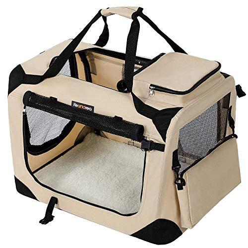 FEANDREA Hundebox, Transportbox für Auto, Hundetransportbox, Faltbare Katzenbox...