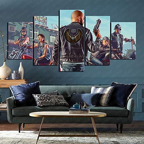 CAFO Heilen Sie die Stimmung Grand Theft Auto GTA5 Leinwand Wanddruck HD 5 Panel...