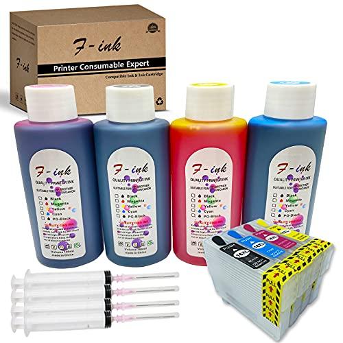Kompatibel mit Epson 16 16XL, wiederaufladbaren Tintenpatronen und 4 x 100 ml...