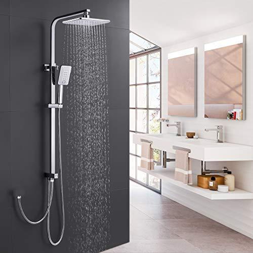 Duschset Duschsystem ohne Armatur, WOOHSE Duscharmatur Regendusche mit Eckige...