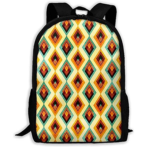 Lmtt Rucksack Vintage Diamond Bookbag Casual Reisetasche für Teen Boys Girls