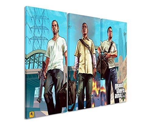 Leinwandbild 3 teilig Grand_Theft_Auto_V_3x90x40cm (Gesamt 120x90cm)...