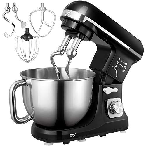 Küchenmaschine, Aicok 5L Geräuschlos Knetmaschine mit Doppelten Knethaken,...
