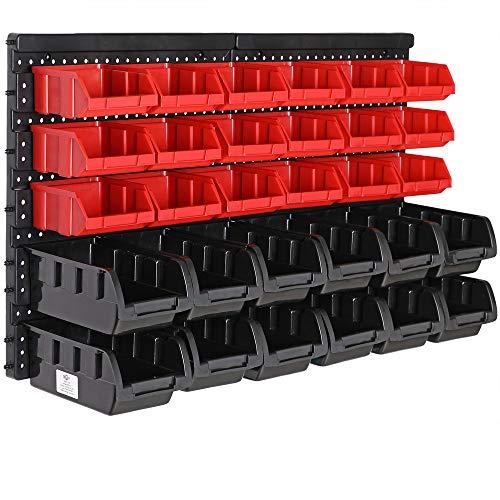 Deuba Wandregal mit Stapelboxen 32 tlg Box Starke Wandplatten Erweiterbar...