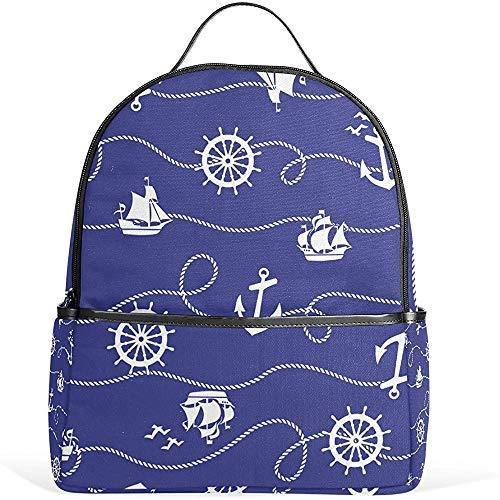 Leichter Schulrucksack mit Anker und Lenkrad für Jungen und Mädchen