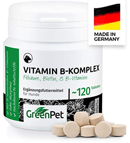 GreenPet Vitamin B Komplex für Hunde - 8 B-Vitamine, Biotin, Folsäure,...