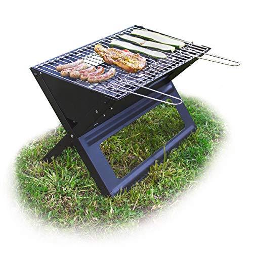 Relaxdays Klappgrill, mit Kohle-und Grillrost, klappbarer Faltgrill, Picknick...