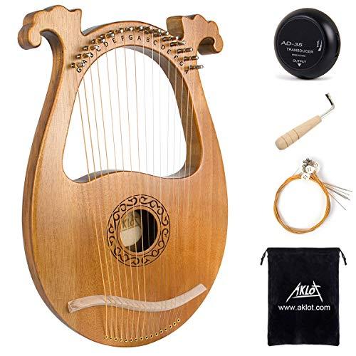 AKLOT Lyre Harp 16 Metal Strings Knochensattel Okoume Lye Harfen mit...