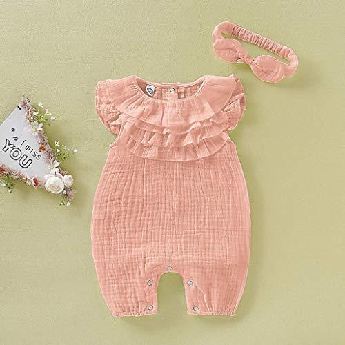 Neugeborenes Baby Kid Girls Solide Ärmellos Overall Strampler Stirnband...