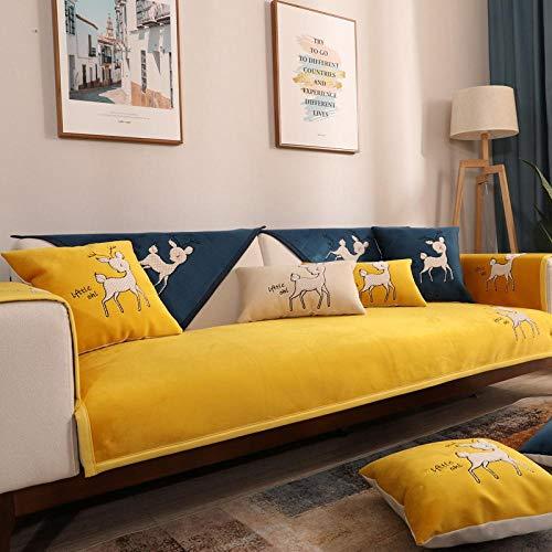 ENLAZY Cartoon Rehkitz Stickerei Multi-Size Chenille Schonbezug für Sofa...