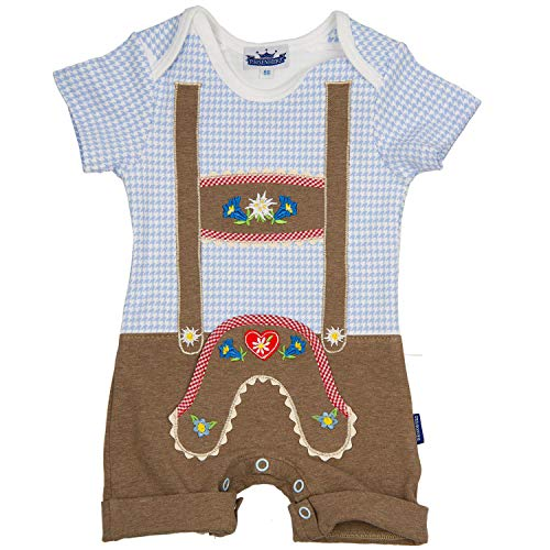 Eisenherz Baby Trachten Babybody für Jungs Lederhose blau/weiß (62, blau)