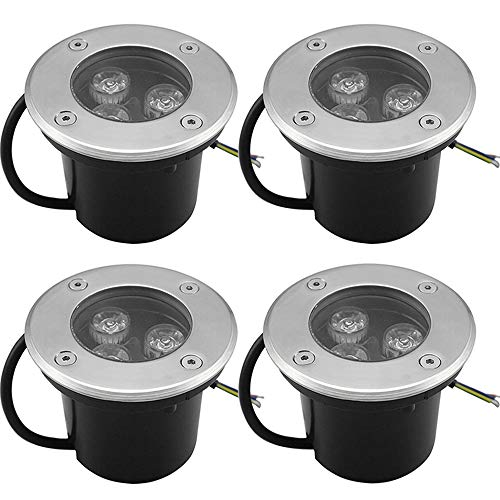 Goodia 4Stk. 3W Bodeneinbaustrahler Led 230V AC IP65 270Lumen Gartenbeleuchtung...