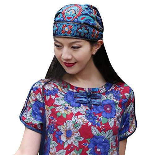 Vintage Turban Hut Damen Chemo Hat Lace Headscarf Ethnische Stickerei Art Blumen...