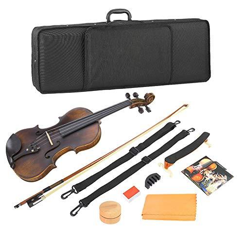 Wandisy Retro Vintage 4/4 Violin Set, Holz Akustische Violine mit String Mute...