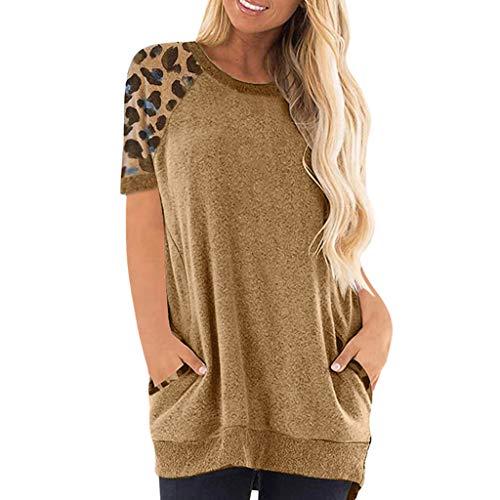 Innerternet Damen Pullover Rundhals Farbblock Damen Kurzarmshirts Sweatshirt...