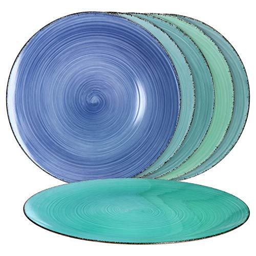 MamboCat Blue Baita 6er Platz-Teller-Set blau I maritime Deko-Teller aus...
