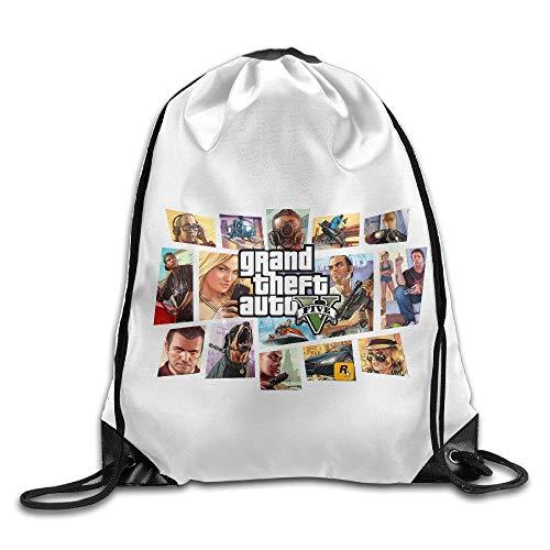 HLKPE Creative Design GTA 5 Grand Theft Auto V Game Logo Drawstring Backpack...