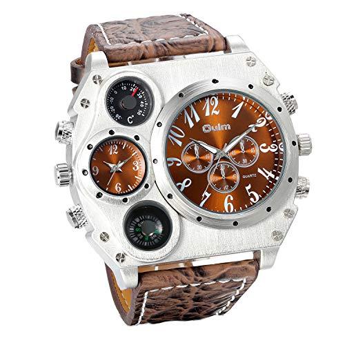 JewelryWe Herren Armbanduhr, Leder Legierung, Analog Quarz Kompass Thermometer...