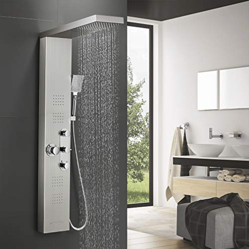 BONADE Thermostat Edelstahl Duschpaneel, Funktional Duschsystem mit Regendusche,...