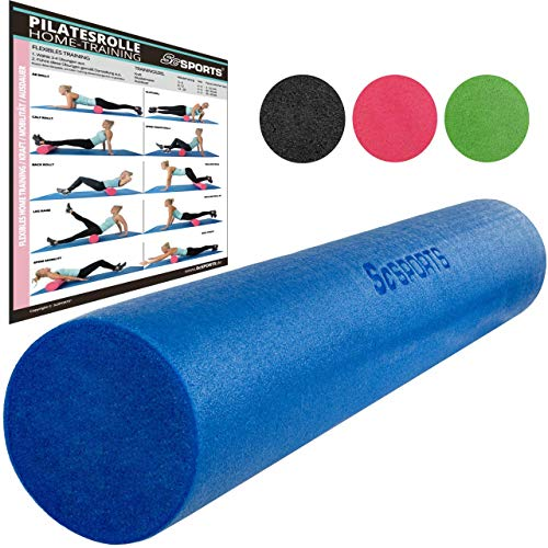 ScSPORTS Pilatesrolle, Gymnastikrolle, Faszienrolle, Schaumstoff, Blau, 15 x 90...