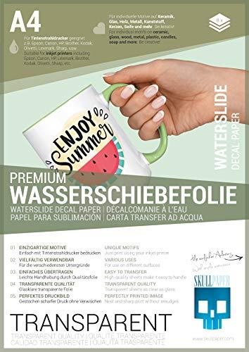 SKULLPAPER® Wasserschiebefolie TRANSPARENT für Tintenstrahldrucker -...